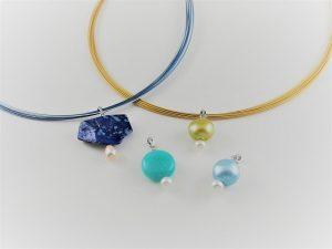 天然石と淡水真珠のネックレス